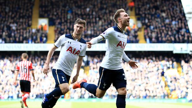 Christian Eriksen, pictured right, opened the scoring against Southampton