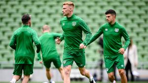 Liam Scales, pictured during a Republic of Ireland training session at the Aviva Stadium earlier this month, could make his Celtic debut tonight. Photo: Stephen McCarthy/Sportsfile
