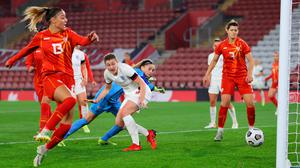England's Ellen White looks on as Julija Zivikj of North Macedonia scores an own goal at St Mary's Stadium in Southampton yesterday. Photo: Catherine Ivill/Getty Images