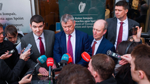 From left: Minister of State for Sport Brendan Griffin, FAI interim chief executive Gary Owens, Minister for Sport Shane Ross and FAI interim deputy chief executive Niall Quinn following Thursday's meeting between the FAI, UEFA and Bank of Ireland officials. Photo: Harry Murphy/Sportsfile