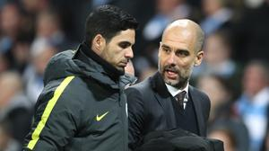 Mikel Arteta, left, and Pep Guardiola worked togther at Manchester City (Martin Rickett/PA)