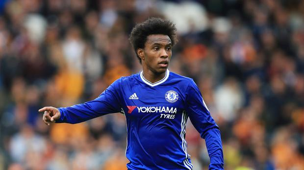 Chelsea's Willian is said to be happy to stay at Stamford Bridge for the rest of his career
