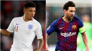 Jadon Sancho and Lionel Messi (Adam Davy/Nick Potts/PA)