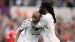 Only Andre Ayew, left, and Bafetimbi Gomis, right, have scored for Swansea in the Premier League this season