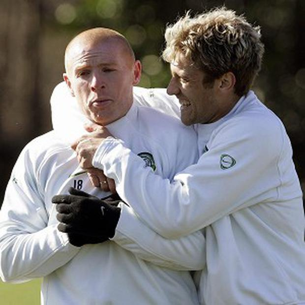 Neil Lennon, left, and Stiliyan Petrov, right, were team-mates at Celtic