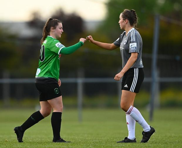 Eleanor Ryan-Doyle of Peamount United and Riona Crowley of Cork City fist bump after the SSE Airtricity Women's National League match between Peamount United and Cork City at PRL Park in Greenogue, Dublin. Photo: Harry Murphy/Sportsfile