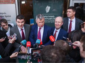From left: Brendan Griffin, Gary Owens, Shane Ross and Niall Quinn speaking after the Memorandum of Understanding was agreed earlier this year. Photo: Sportsfile