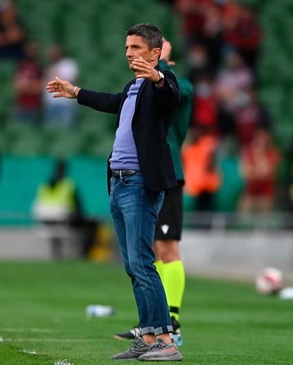PAOK manager Răzvan Lucescu gestures during the Europa Conference League third qualifying round first leg defeat to Bohemians. Photo: Harry Murphy/Sportsfile