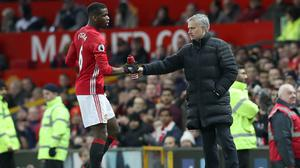 Paul Pogba, left, has been in impressive form for Manchester United