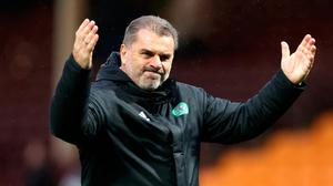 Celtic manager Ange Postecoglou celebrates victory after the final whistle during the weekend game at Motherwell. Photo: Steve Welsh/PA Wire
