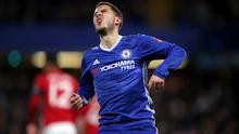Chelsea's Eden Hazard, pictured, and goalkeeper Thibaut Courtois returned to training on Thursday following injury