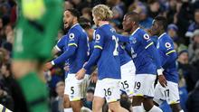 Everton's Enner Valencia (second from right) celebrates scoring his side's first goal against Southampton