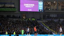 Ireland and Brighton striker Aaron Connolly was awarded a penalty after a VAR check (Gareth Fuller/PA)