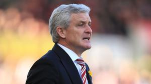 Stoke manager Mark Hughes, pictured, was unhappy with the performance of referee Andre Marriner