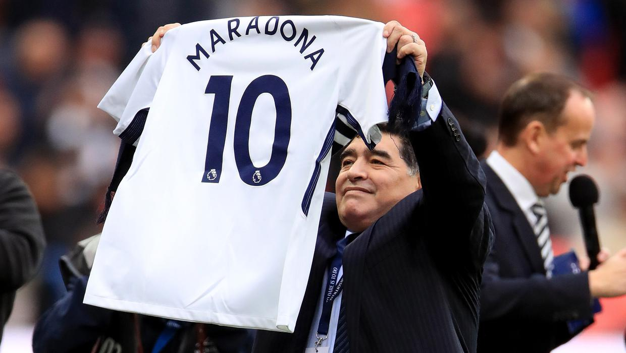 Diego Maradona Pictured In Spurs Shirt While Watching Liverpool Game Independent Ie
