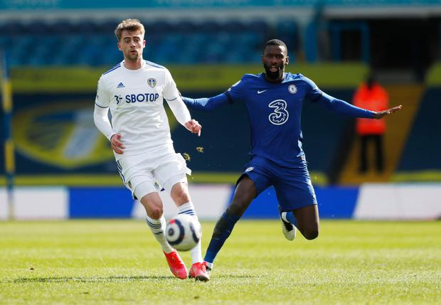 Leeds United's Patrick Bamford in action with Chelsea's Antonio Rudiger. Photo: Lee Smith/Reuters