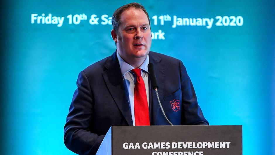 Des Ryan, pictured in January 2020, in his role as Head of Sport Medicine and Athletic Development at Arsenal FC, speaking at the GAA Games Development Conference at Croke Park