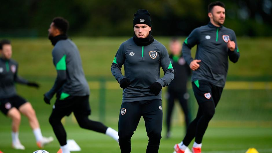 Aaron Connolly during a Republic of Ireland training session at the FAI National Training Centre in Abbotstown in Dublin. Photo: Stephen McCarthy/Sportsfile