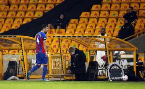 Luka Milivojevic leaves the pitch after being sent off (Andrew Boyers/PA)