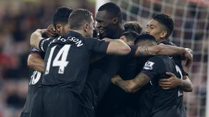 Christian Benteke, centre, grabbed the winner against Sunderland