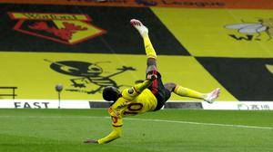 Danny Welbeck's incredible overhead kick gave Watford all three points against Norwich (Matt Dunham/NMC Pool/PA)