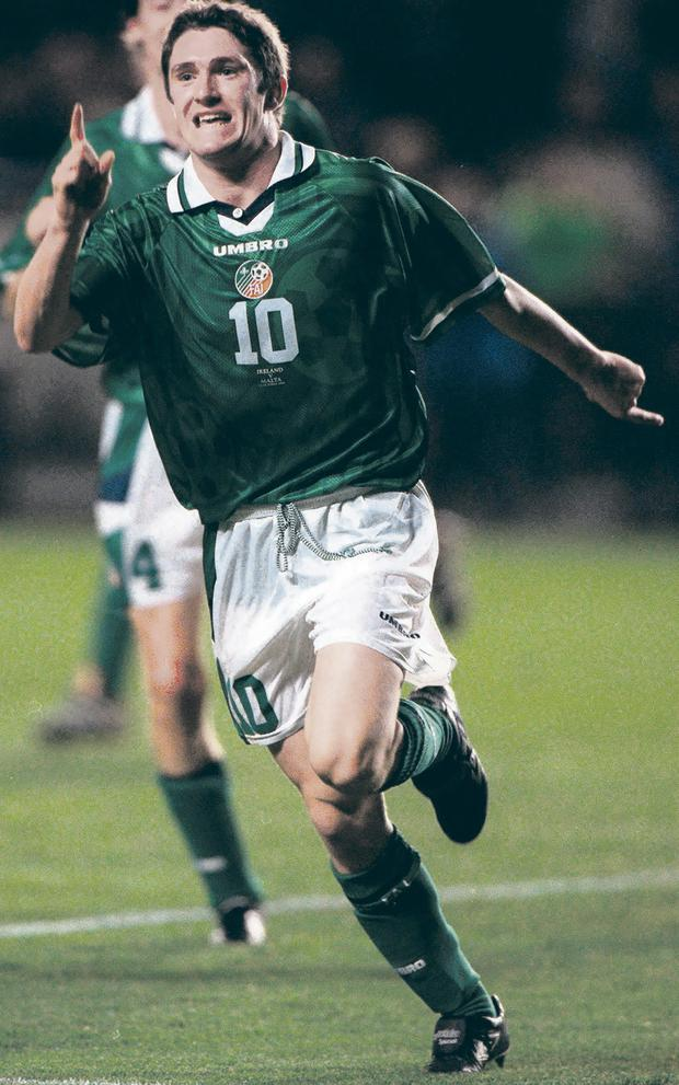 Robbie Keane celebrates after scoring Ireland's opening goal against Malta in 1998