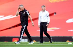 Sheffield United manager Chris Wilder, left, was not a happy man at full-time (Michael Regan/NMC Pool/PA)