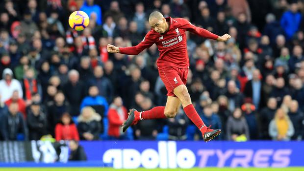 Fabinho stepped back into defence as Liverpool edged out Brighton 1-0 on the south coast (Gareth Fuller/PA)