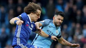Chelsea argued that the club's culture has changed under Antonio Conte before being fined following a fracas which began when Manchester City's Sergio Aguero, right, fouled David Luiz