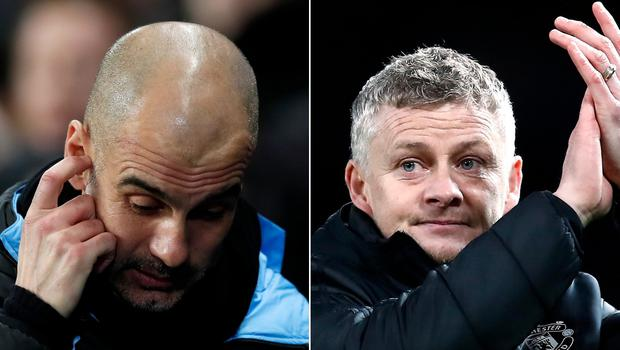 Pep Guardiola, left, and Ole Gunnar Solskjaer have both suffered frustrating losses (Martin Rickett/PA)