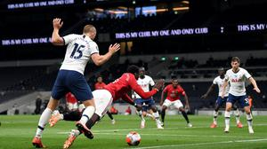 Manchester United's Paul Pogba is fouled for the penalty which was converted by Bruno Fernandes (PA)