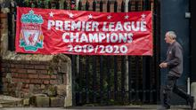 You'll Never Walk Alone: The victory banners are up in Liverpool already after the Premier League yesterday announced its plans to finish the 2019/'20 season