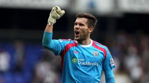 West Bromich Albion's Ben Foster celebrates at the end of the Barclays Premier League match at White Hart Lane, London.