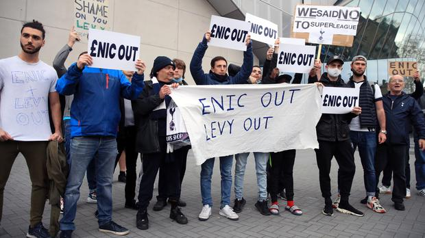 Tottenham fans protested at the club's ownership at a recent game against Southampton (Adam Davy/PA)