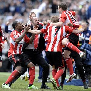 David Vaughan, right, scored Sunderland's third goal in the victory at Newcastle