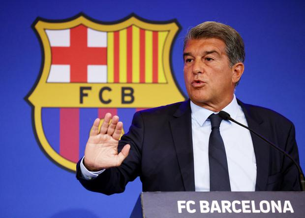 Barcelona president Joan Laporta during a press conference. Photo by: Nacho Doce/REUTERS