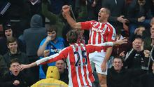 Jonathan Walters, right, celebrates with Peter Crouch after scoring what turned out to be the winner