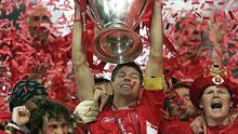 Liverpool lifting the Champions League trophy in Istanbul