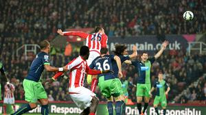 Stoke City's Peter Crouch scores the opening goal