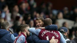 Aston Villa manager Tim Sherwood celebrates Tuesday's 2-1 win over West Brom with Gabriel Agbonlahor