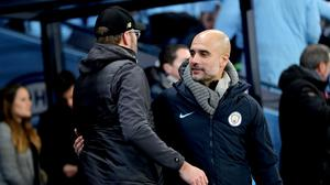 Pep Guardiola, right, and Manchester City ranked just ahead of Jurgen Klopp's Liverpool on Match of the Day (Richard Sellers/PA)