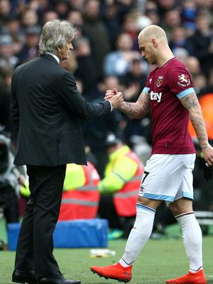 Arnautovic was substituted by manager Manuel Pellegrini with 19 minutes remaining (Yui Mok/PA)