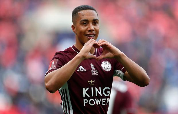 Leicester City's Youri Tielemans celebrates scoring the only goal of yesterday's FA Cup final at Wembley Stadium. Photo: Matt Childs/PA
