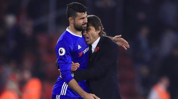 Chelsea boss Antonio Conte, right, has fallen out with Diego Costa