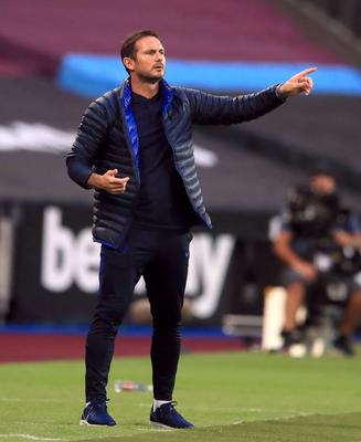 Frank Lampard, pictured, has defended Marcos Alonso after criticism from Gary Neville (Adam Davy/NMC Pool)