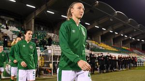 The Republic of Ireland's Louise Quinn prior to the Euro 2022 Qualifier against Germany at Tallaght Stadium last December. Photo: Stephen McCarthy/Sportsfile