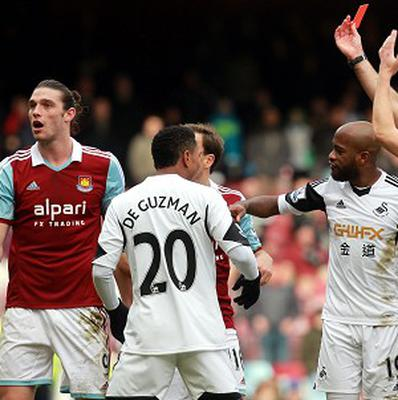 West Ham will appeal Andy Carroll's sending off against Swansea
