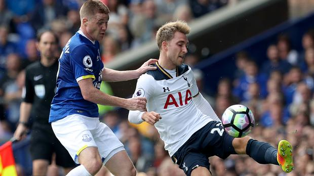 Christian Eriksen, right, played the full duration of Tottenham's 1-1 draw at Everton