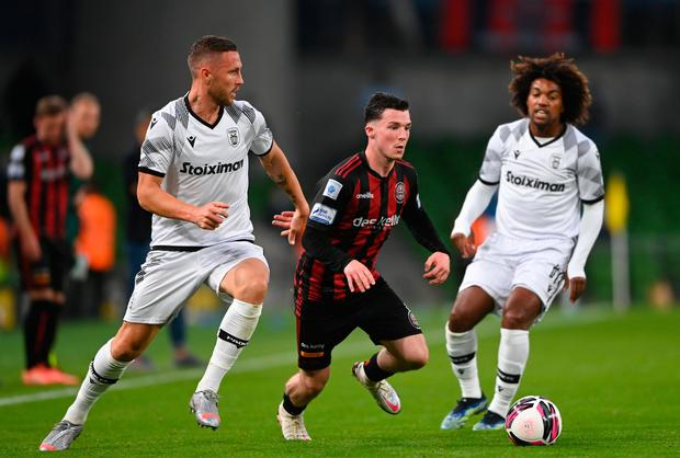 Ali Coote of Bohemians in action against Jasmin Kurtic and Diego Biseswar of PAOK during the Europa Conference League third qualifying round first leg match at the Aviva Stadium in Dublin. Photo: Harry Murphy/Sportsfile