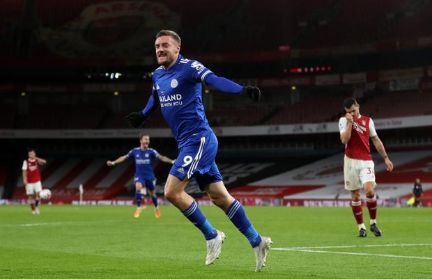 Jamie Vardy scored the winner as Leicester won at Arsenal earlier in the season (Catherine Ivill/PA)